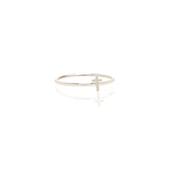 Zoë Chicco 14kt White Gold Itty Bitty Cross Ring