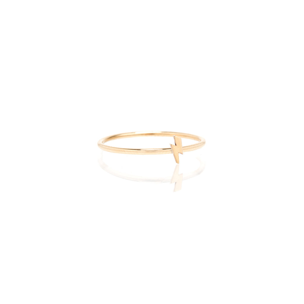 Zoë Chicco 14kt Yellow Gold Itty Bitty Lightning Bolt Ring