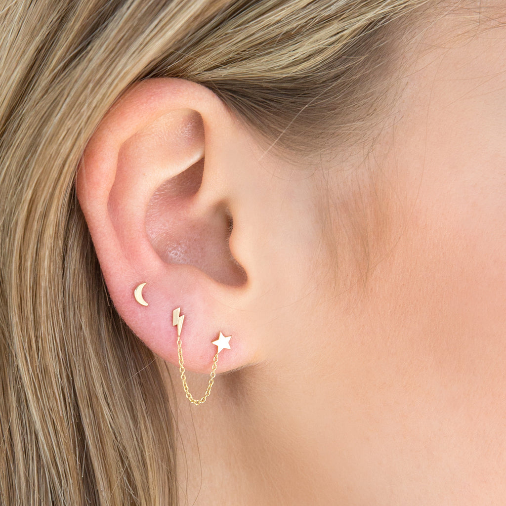 14k itty bitty crescent moon stud
