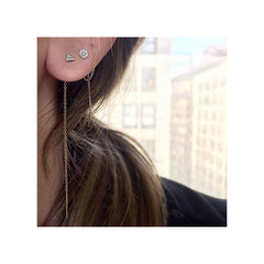 14k itty bitty pave round disc threader earrings