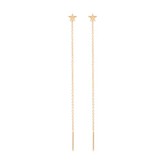 Zoë Chicco 14kt Yellow Gold Itty Bitty Star Threader Earrings