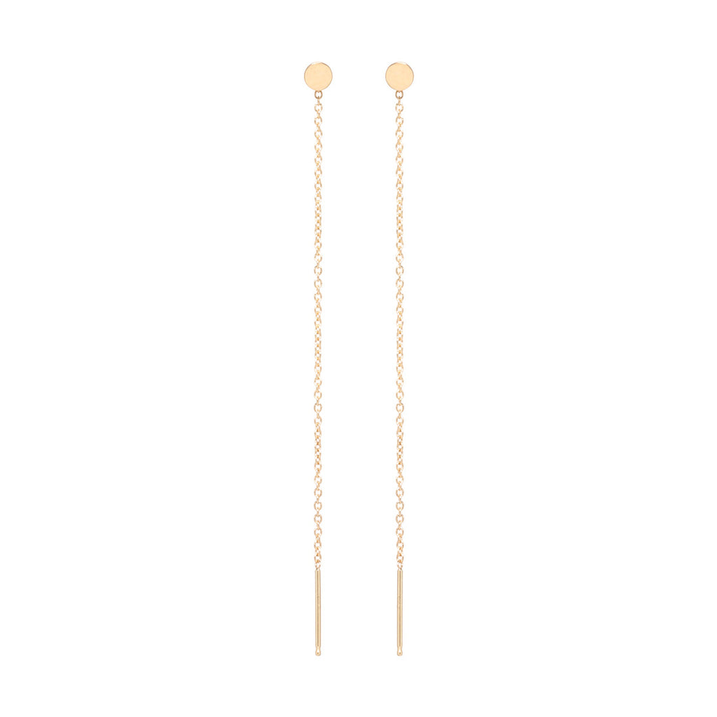 14k itty bitty round disc threader earrings