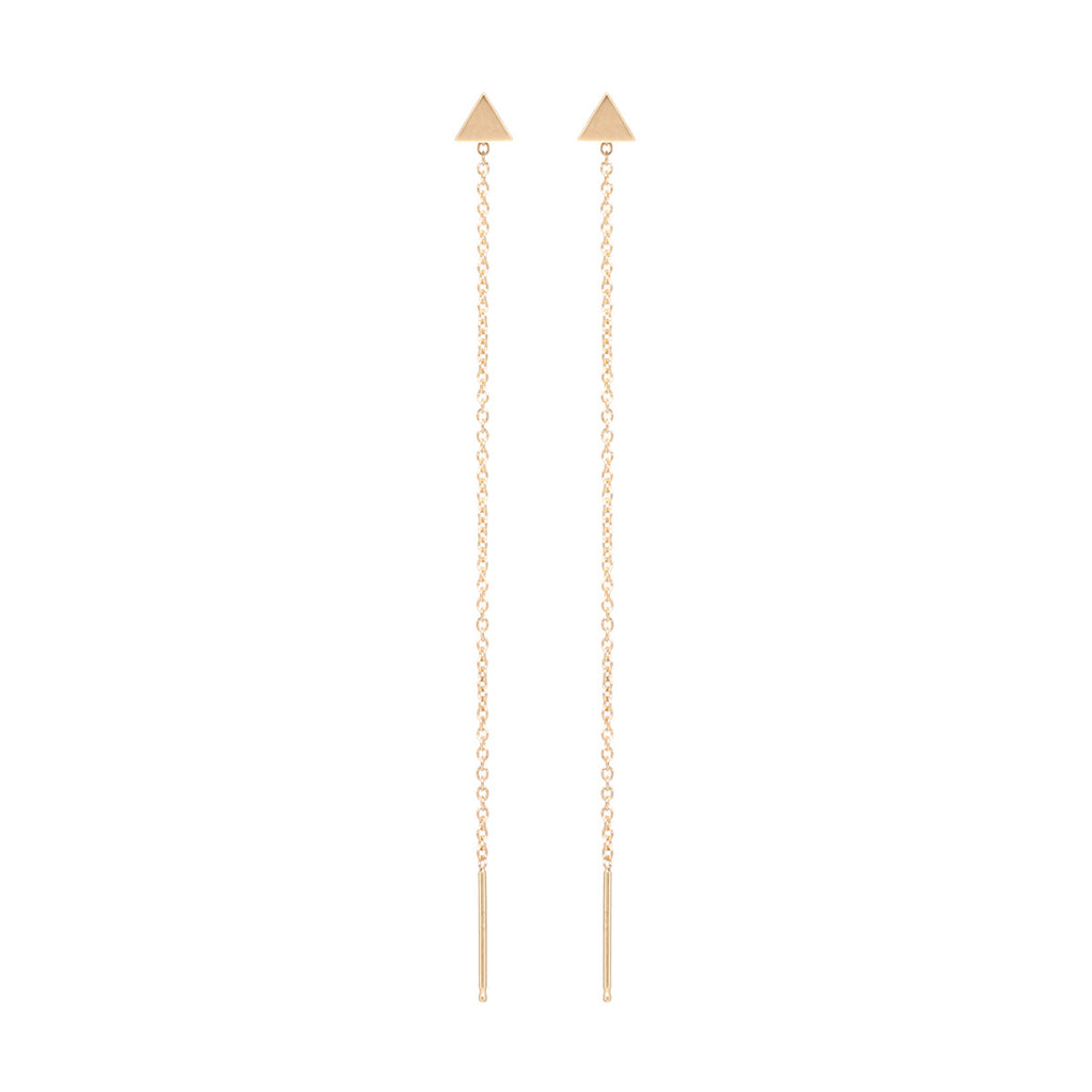 Zoë Chicco 14kt Yellow Gold Itty Bitty Triangle Threader Earrings