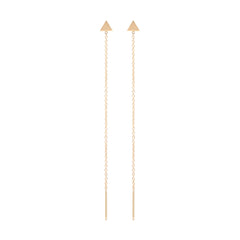 14k itty bitty triangle threader earrings