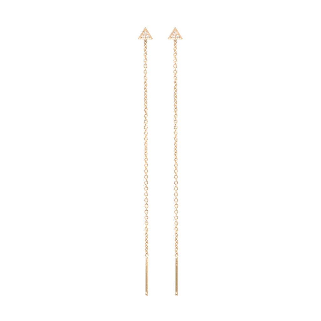 14k itty bitty pave triangle threader earrings