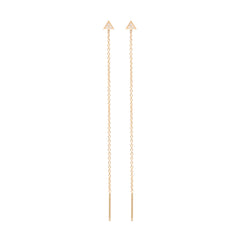 Zoë Chicco 14kt Yellow Gold Itty Bitty Pave Triangle Threader Earrings