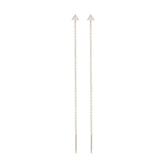 Zoë Chicco 14kt White Gold Itty Bitty Pave Triangle Threader Earrings