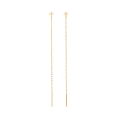 Zoë Chicco 14kt Yellow Gold Itty Bitty Cross Threader Earrings