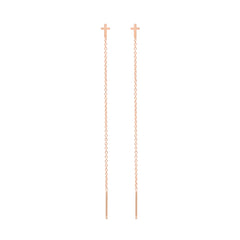 Zoë Chicco 14kt Rose Gold Itty Bitty Cross Threader Earrings