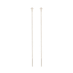 Zoë Chicco 14kt White Gold Itty Bitty Cross Threader Earrings