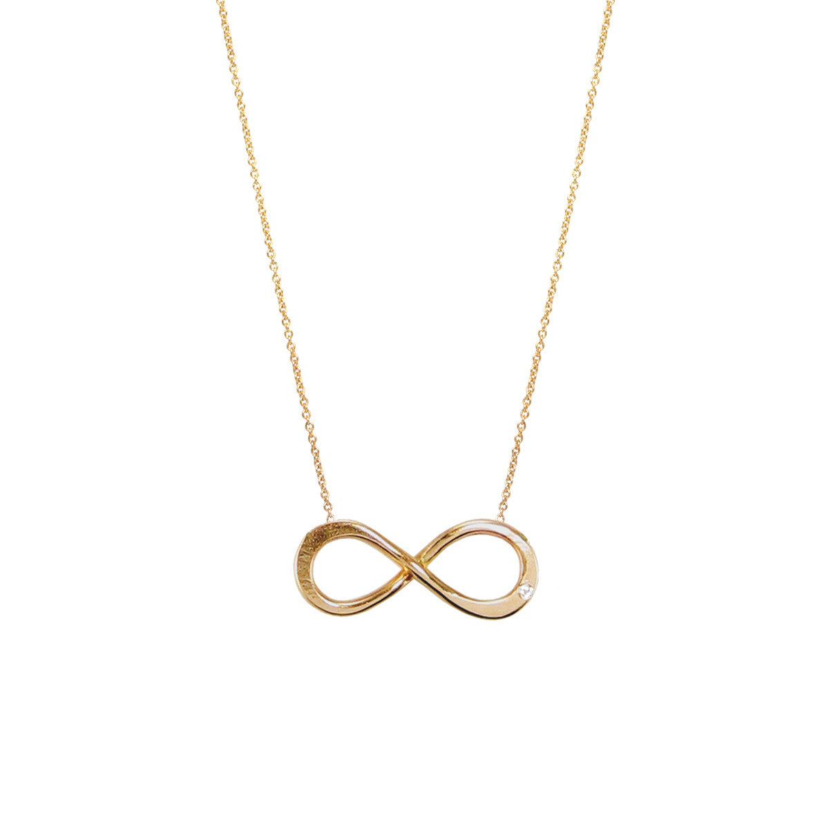 14k large diamond infinity necklace