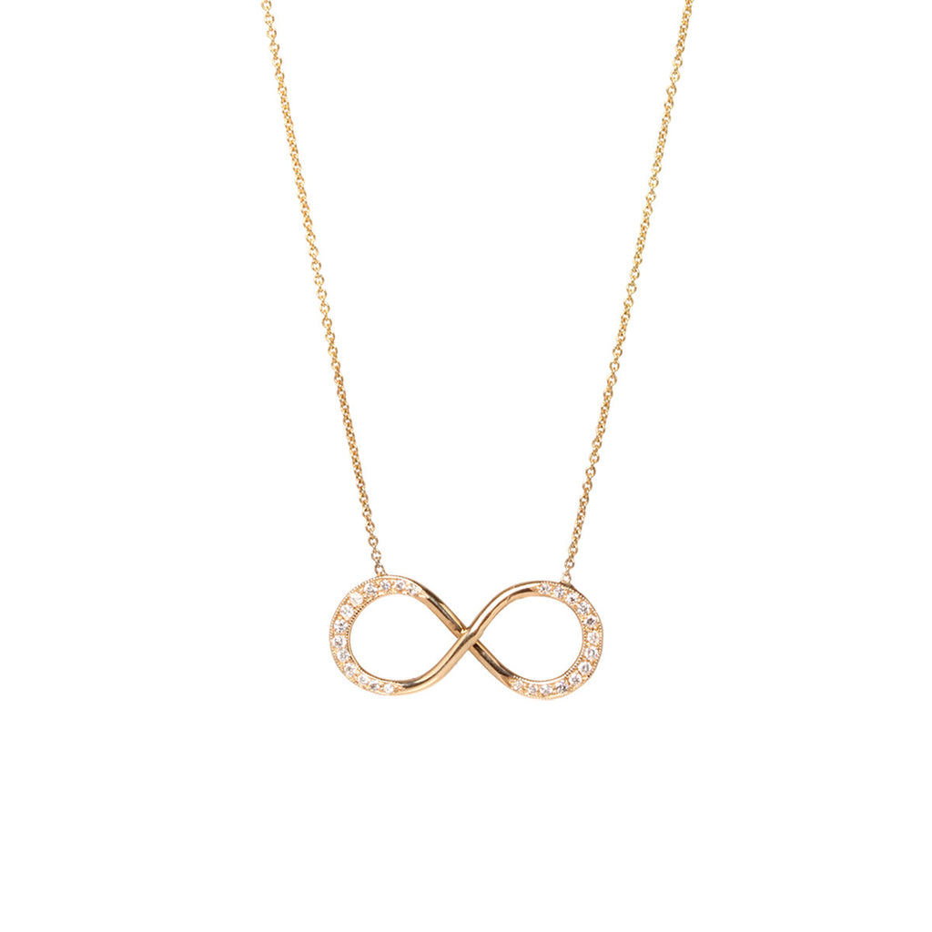 14k large pave infinity necklace