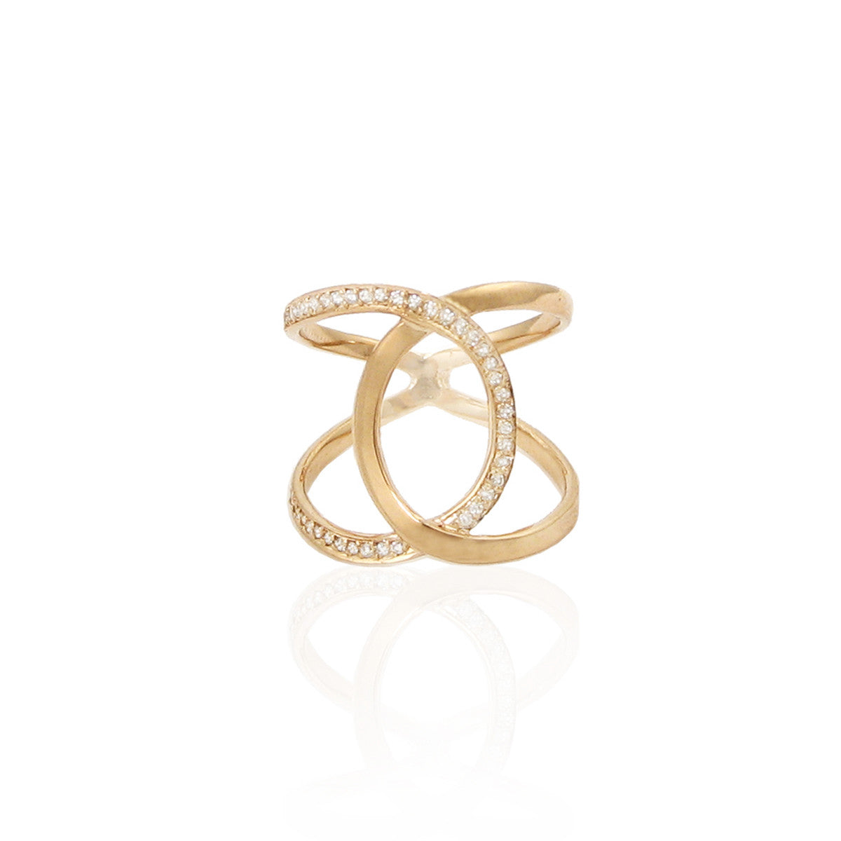 14k pave crossover ring