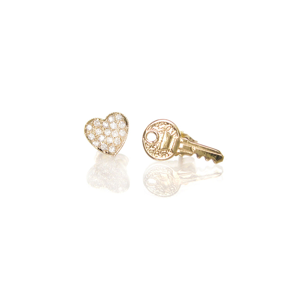14k key to my heart studs