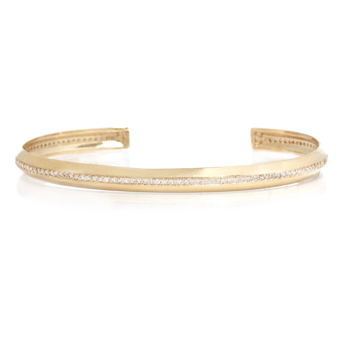 14k pave line knife edge cuff