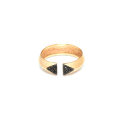 14k open knife edge pave ring