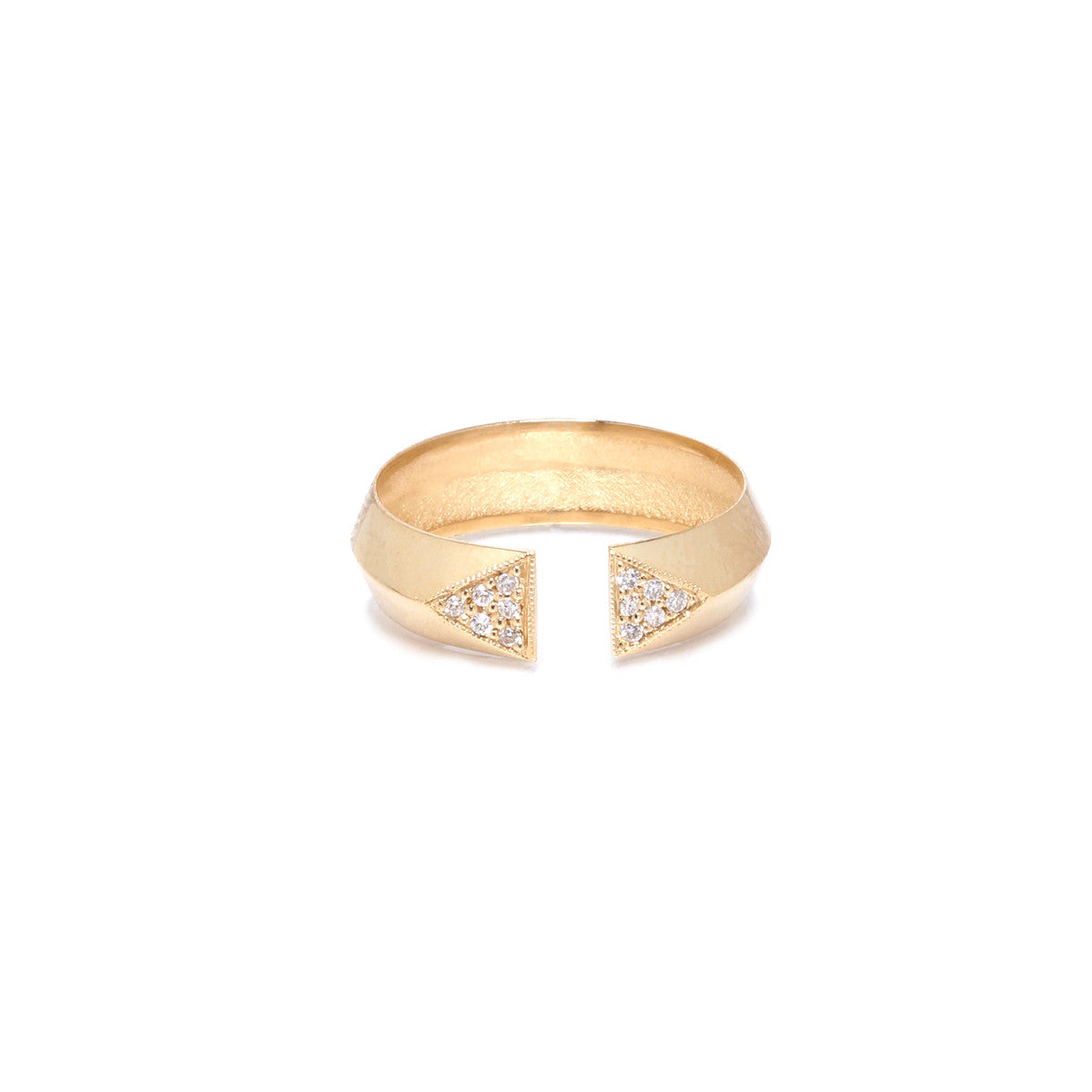 14k open knife edge white pave ring