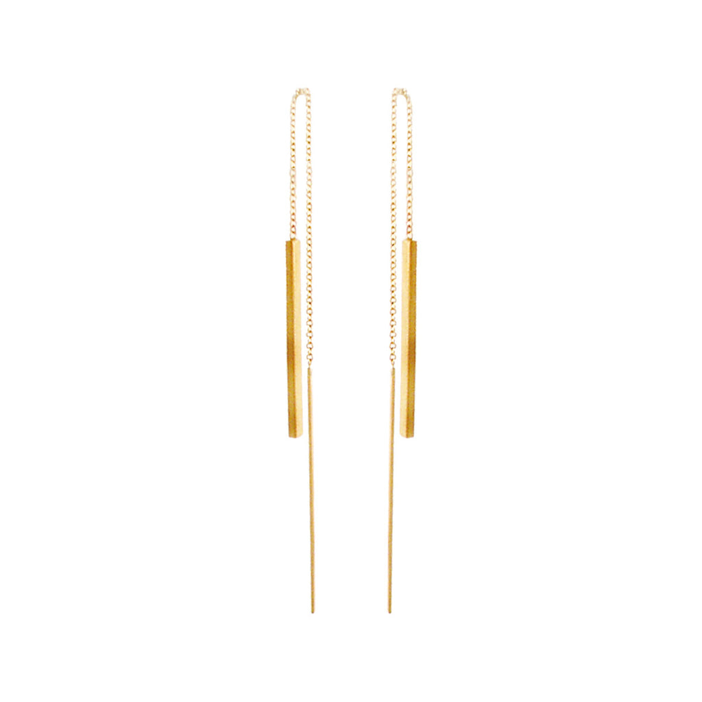 14k bar threader earrings
