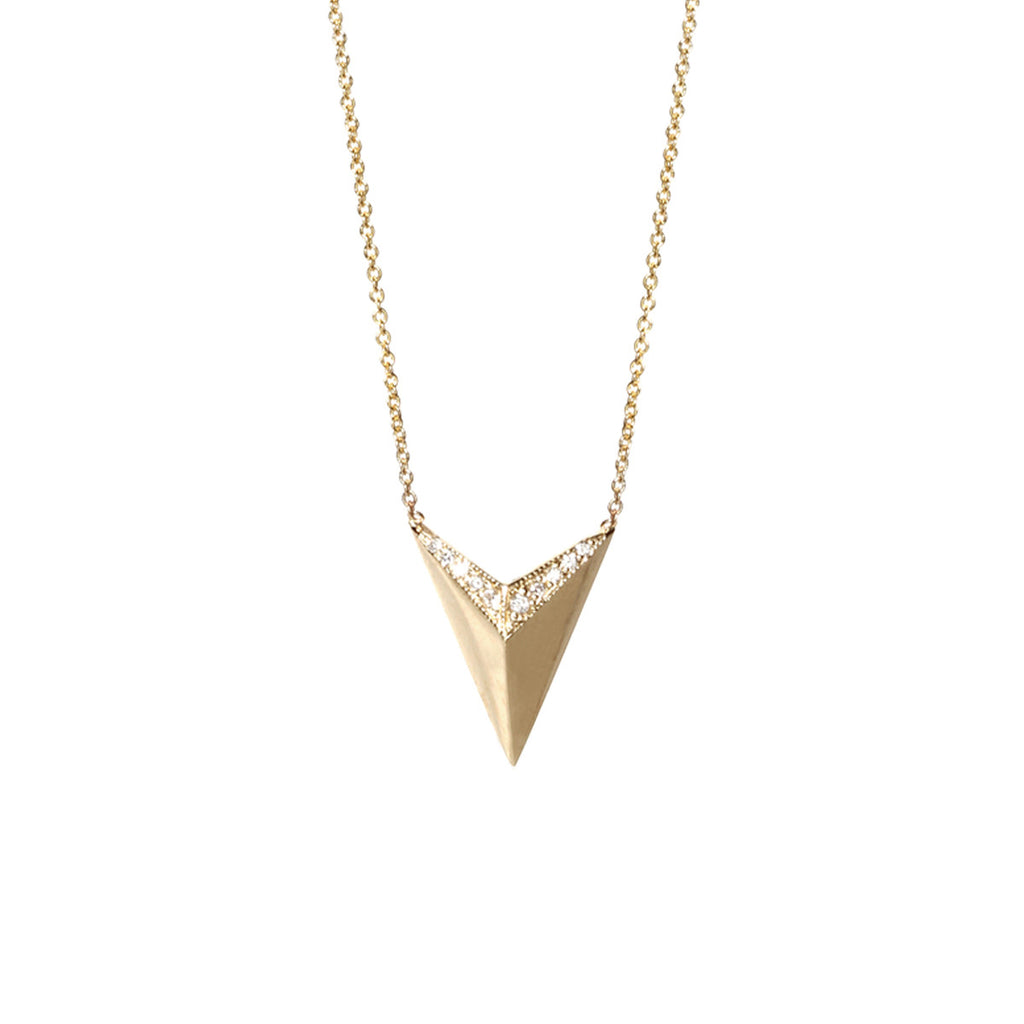 14k pave arrowhead necklace