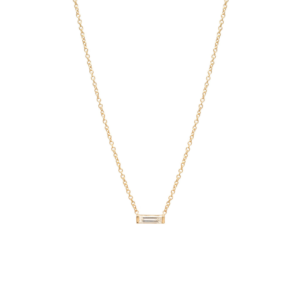 14k large horizontal diamond baguette necklace