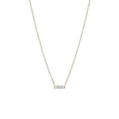 Zoë Chicco 14kt White Gold Large Horizontal Diamond Baguette Necklace
