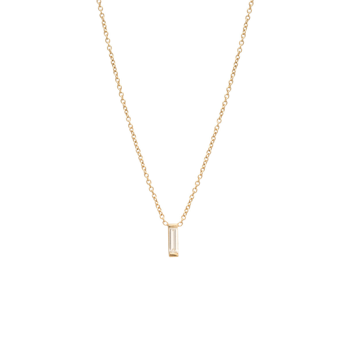 Zoë Chicco 14kt Yellow Gold Large Vertical Diamond Baguette Necklace