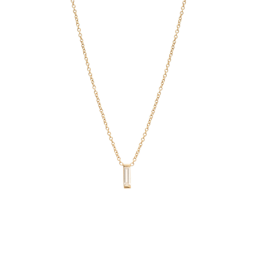 14k large vertical diamond baguette necklace