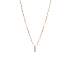Zoë Chicco 14kt Rose Gold Large Vertical Diamond Baguette Necklace