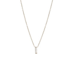 Zoë Chicco 14kt White Gold Large Vertical Diamond Baguette Necklace