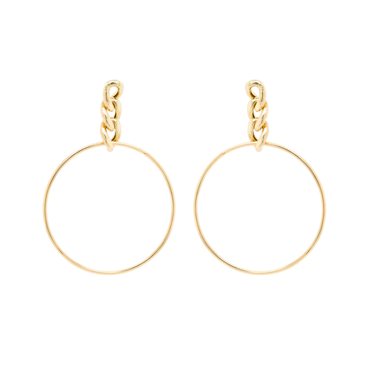 14k large curb chain drop hoop earrings