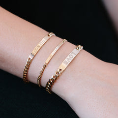 14k small curb chain ID bracelet with date and diamonds