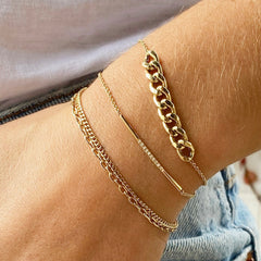 14k double chain extra small curb & oval link bracelet