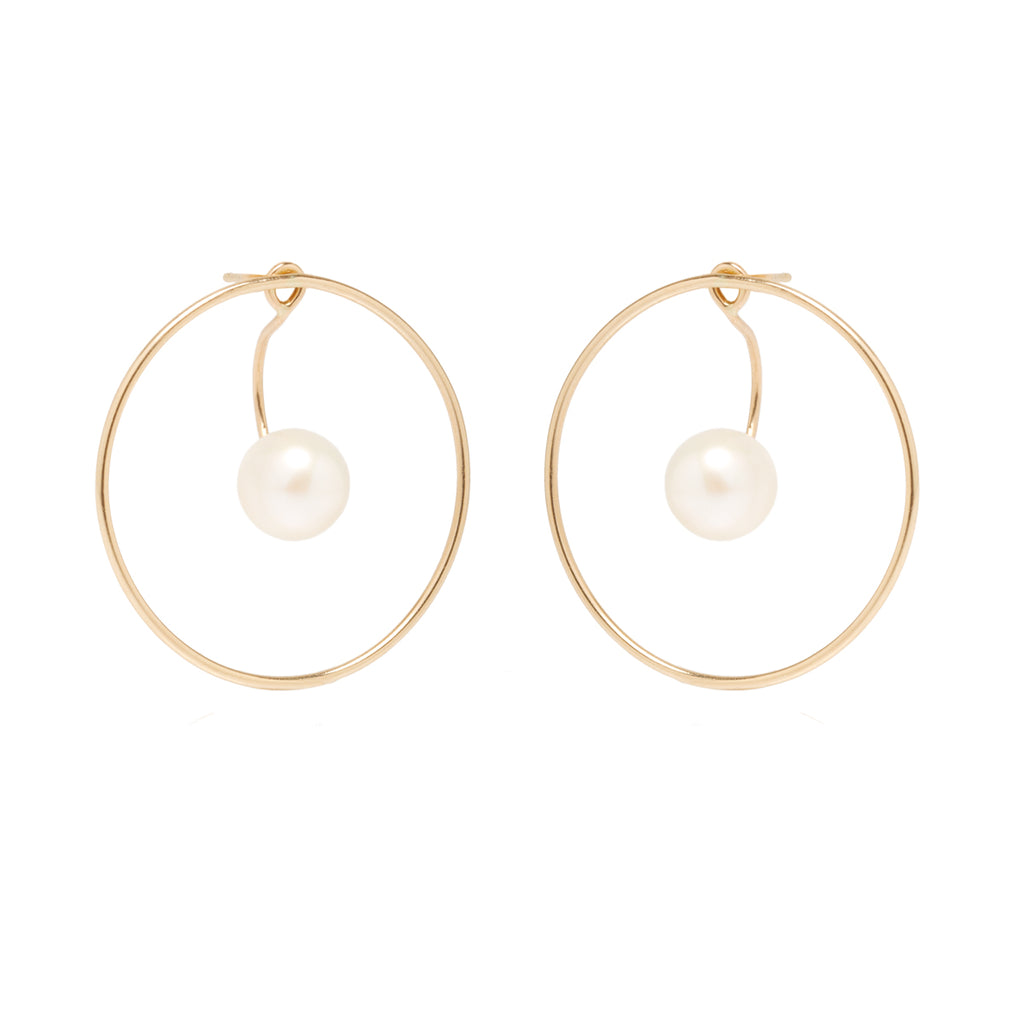 14k large circle earrings with floating pearl stud charms