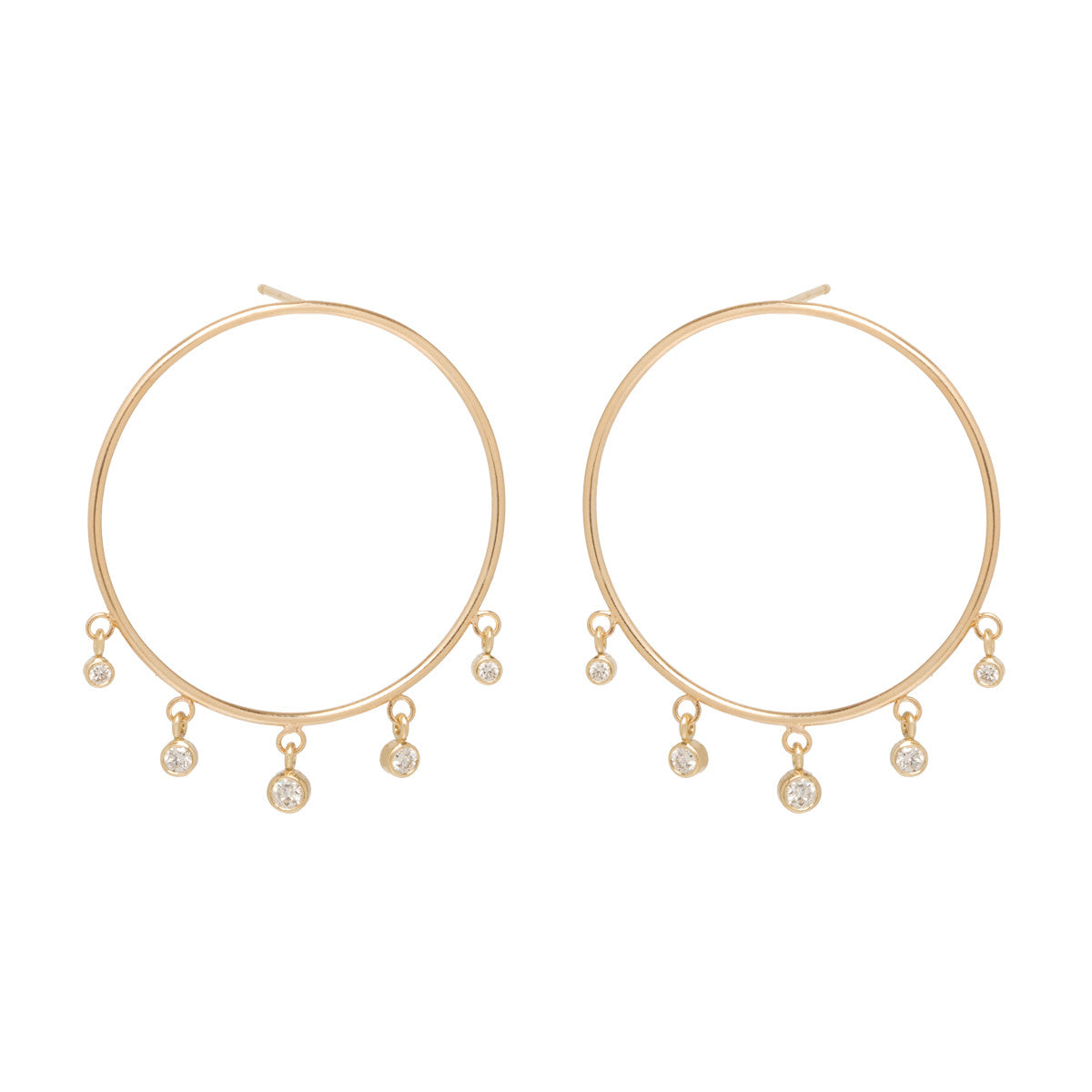 Zoë Chicco 14kt Yellow Gold Large Front Circle Hoop Earrings with Graduated Dangling Diamonds