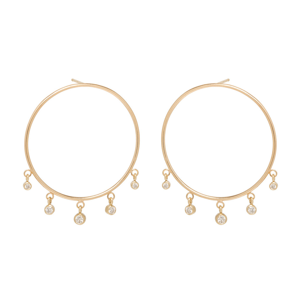 14k large front circle hoop earrings with graduated dangling diamonds