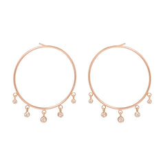 Zoë Chicco 14kt Rose Gold Large Front Circle Hoop Earrings with Graduated Dangling Diamonds