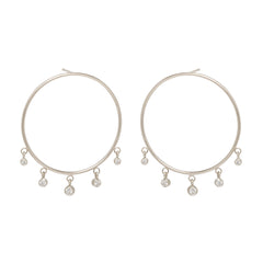 Zoë Chicco 14kt White Gold Large Front Circle Hoop Earrings with Graduated Dangling Diamonds