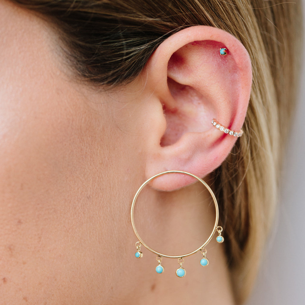 14k large front circle hoop earrings with graduated dangling turquoise