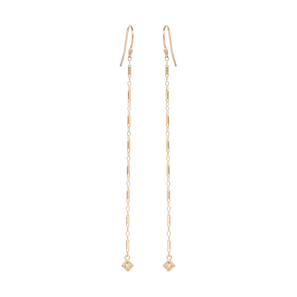 14k long bar chain earrings