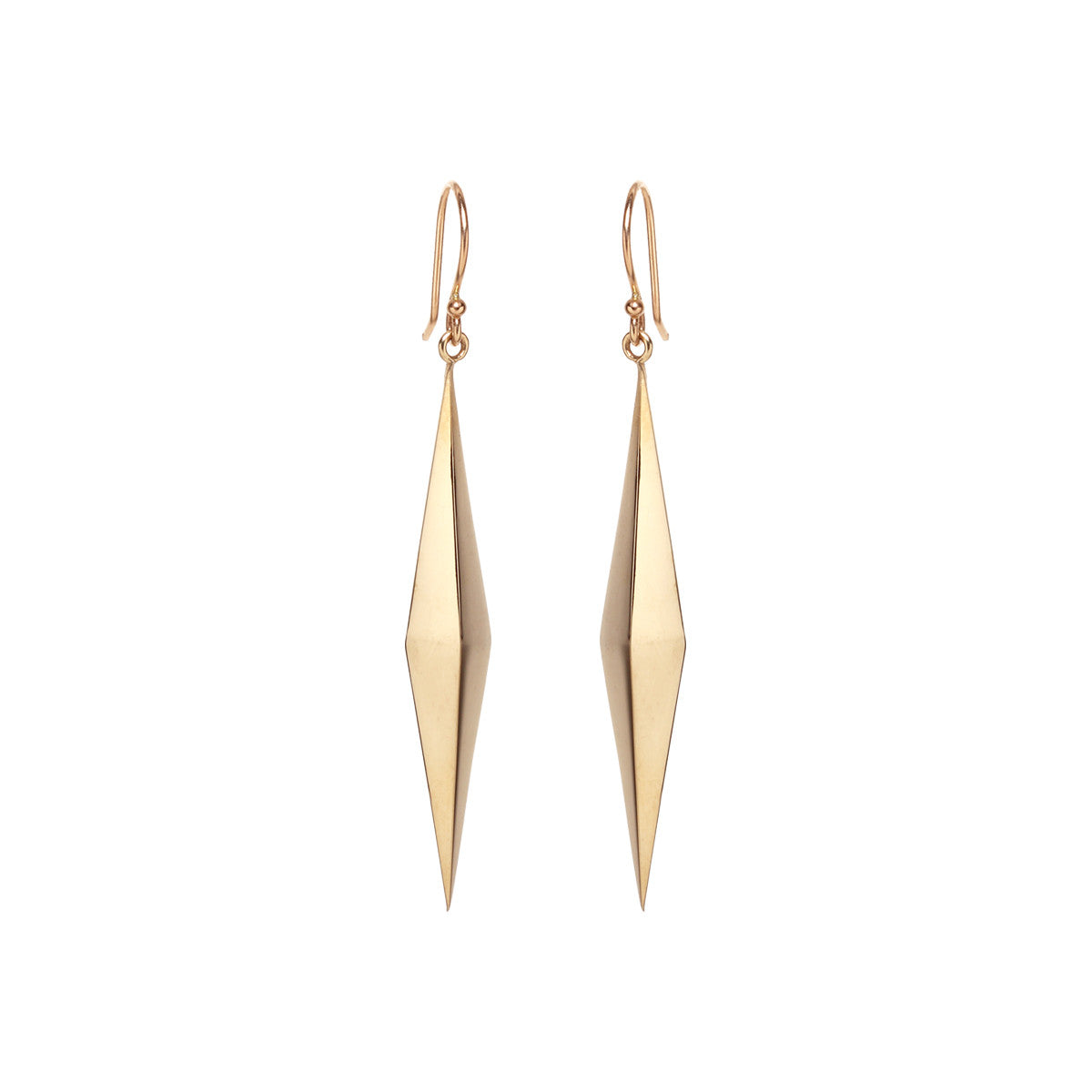 14k diamond shaped pyramid earrings