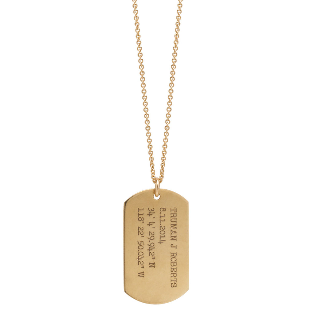 Zoë Chicco 14kt Yellow Gold Large Engraved Dog Tag Necklace