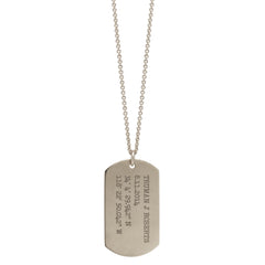 Zoë Chicco 14kt White Gold Large Engraved Dog Tag Necklace