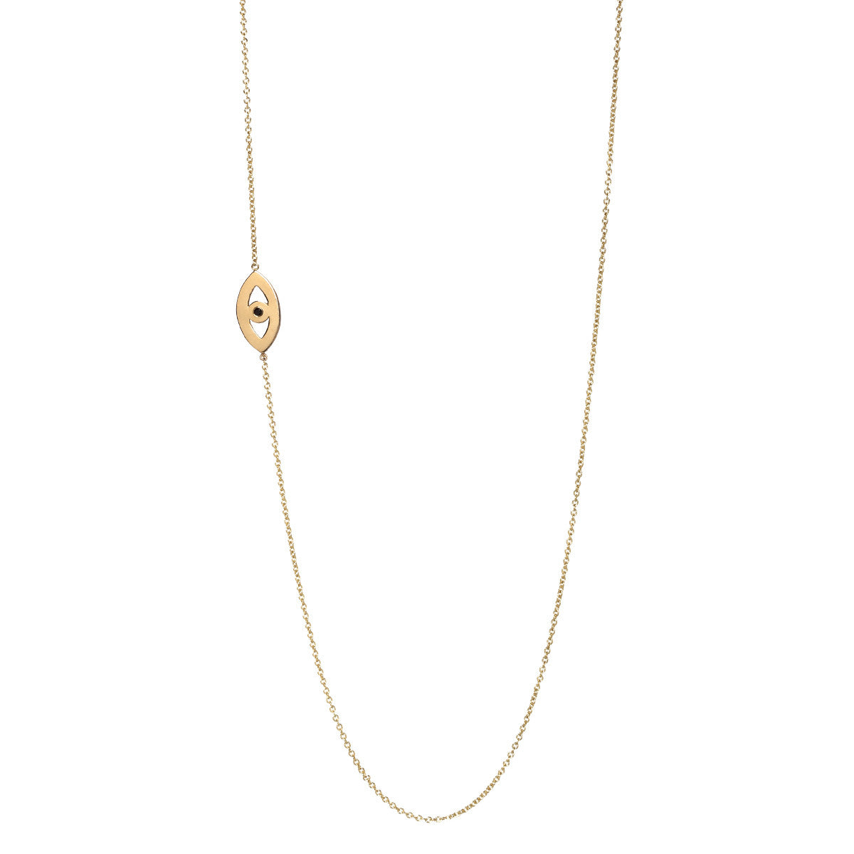 14k long evil eye necklace