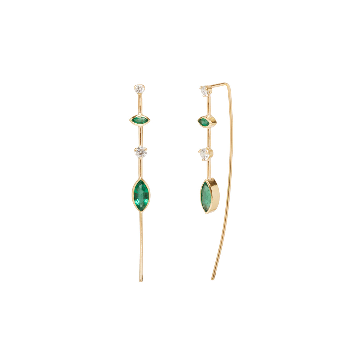 Zoë Chicco x Gemfields 14k mixed emerald and diamond wire earrings
