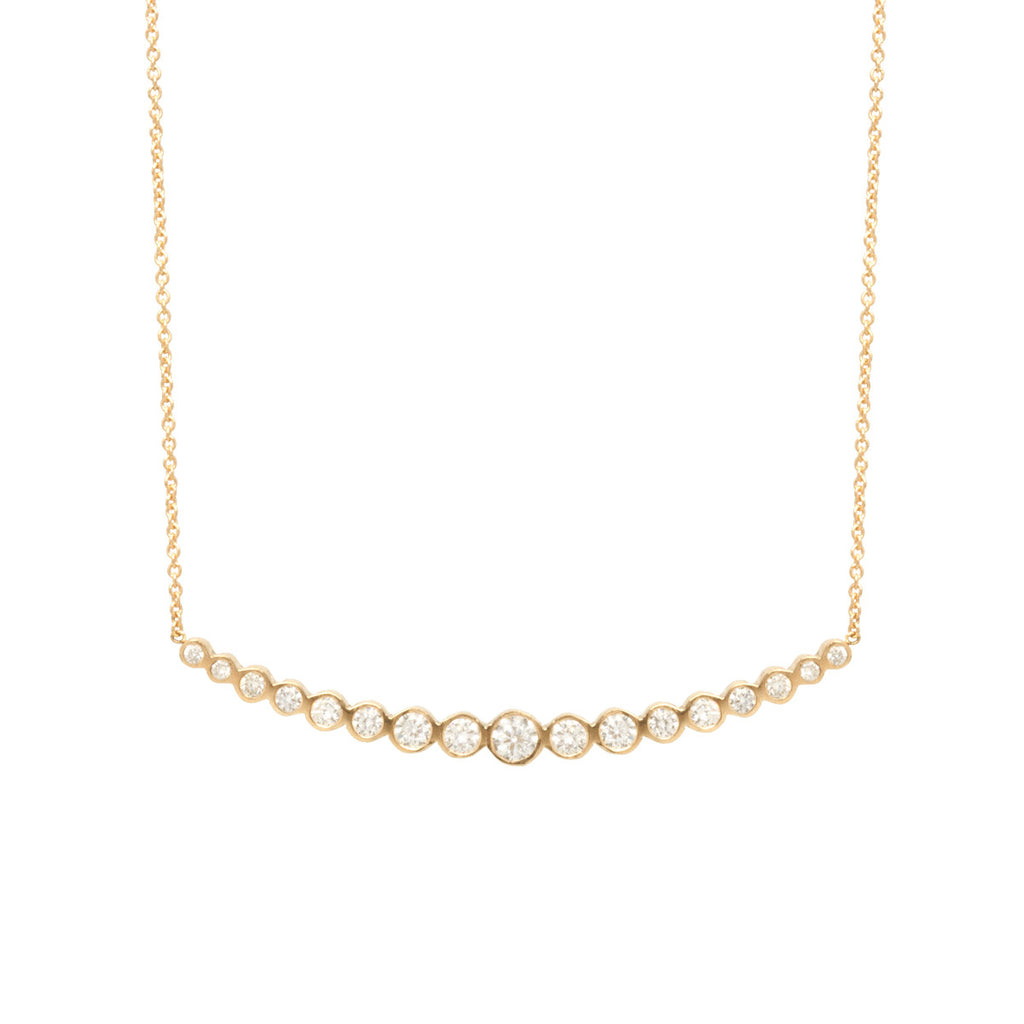 Zoë Chicco 14kt Yellow Gold Horizontal Graduated Diamond Curved Bar Necklace