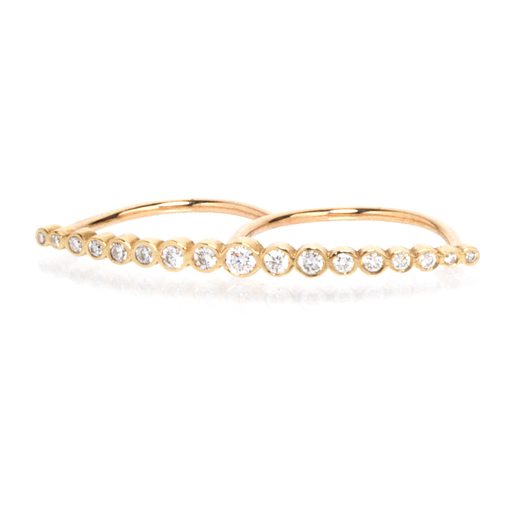 14k bezel diamond double finger ring