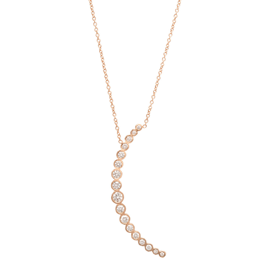 Zoë Chicco 14kt Yellow Gold Graduated White Diamond Crescent Moon Necklace