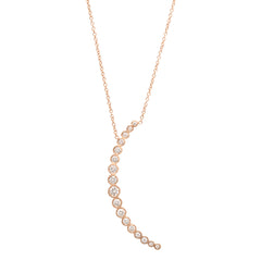 Zoë Chicco 14kt Rose Gold Graduated White Diamond Crescent Moon Necklace