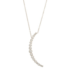 Zoë Chicco 14kt White Gold Graduated White Diamond Crescent Moon Necklace