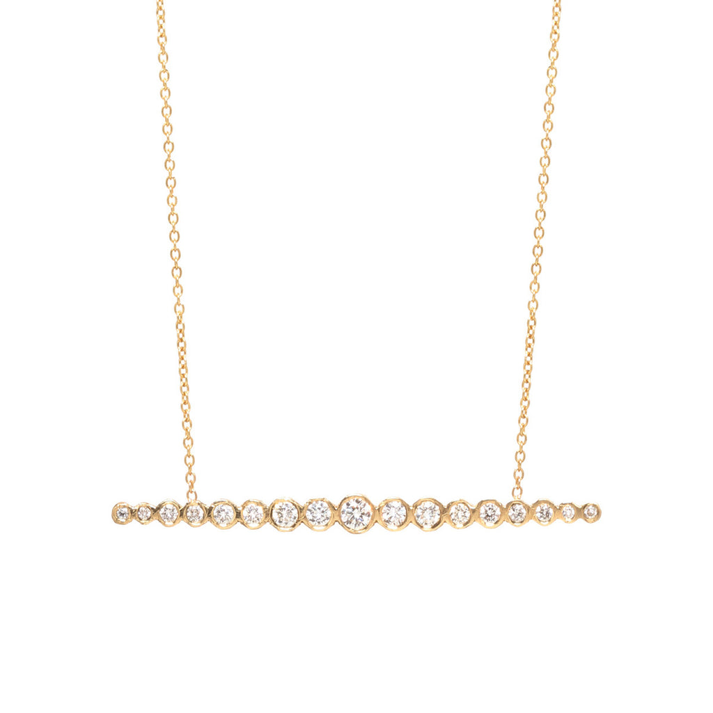 Zoë Chicco 14kt Yellow Gold Horizontal Graduated White Diamond Bar Necklace